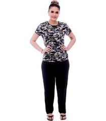 pijama feminino blusa militar camuflada viés calça comprida - feminino