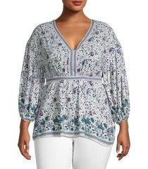 max studio women's plus floral tie blouse - ecru blue - size 1x (14-16)