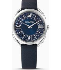 orologio crystalline glam, cinturino in pelle, azzurro, acciaio inossidabile