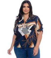 blusa plus size camisaria prelúdio azul estampa geométrica