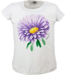 monnalisa short sleeve crew neck t-shirt with flower print