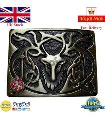 scottish kilt belt buckle stag head antique finish highland belt buckles celtic