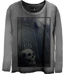 camiseta manga longa skull lab caveira  cinza - kanui