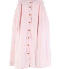 gonna in misto lino con bottoni (rosa) - bpc bonprix collection