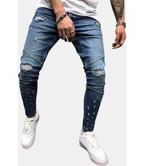 fori di cucitura alla moda da uomo cerniera design lavato casual sottile jeans