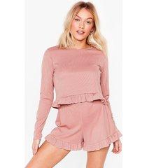 womens you frill be missed petite pajama shorts set - blush