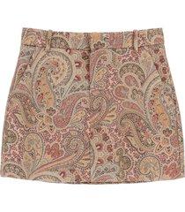 etro paisley wool blend shorts