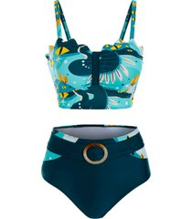 cartoon print buckled padded tankini swimwear