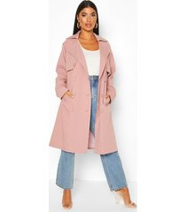 petite flannel detail trench coat, pink