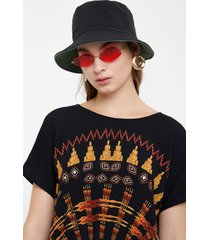 batwing sleeve ethnic blouse - black - xl