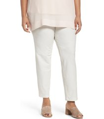 plus size women's eileen fisher crepe ankle pants, size 2x - beige