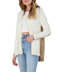 women's bb dakota extra credit cardigan, size large - ivory