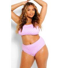 plus bikini met hoge taille en stippen, lila