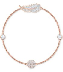 swarovski remix rose gold-tone crystal feather magnetic bracelet