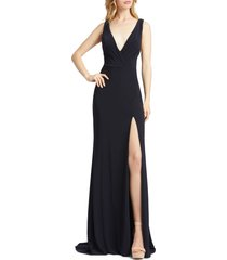mac duggal cowl back surplice knit gown, size 12 in midnight at nordstrom