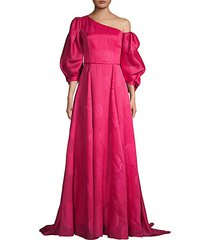 puff-sleeve one-shoulder silk-blend gown