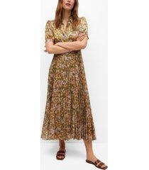 mango women's lurex pleated dress