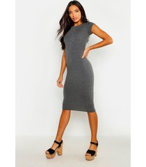 cap sleeve jersey bodycon midi dress, charcoal
