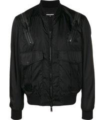 dsquared2 multi-pocket bomber jacket - black