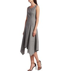 akris punto women's sleeveless sharkbite a-line dress - granite - size 6