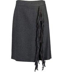 wool flannel fringe skirt