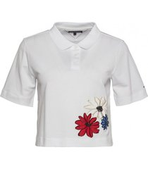 chomba blanca tommy hilfiger clema embroidery polo ss