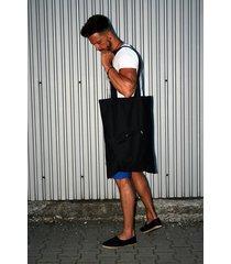 button one pocket eco bag zapinana czarna