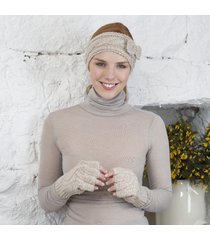 handknitted aran fingerless gloves beige medium