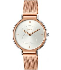 reloj real bear bicolor de acero ip rosa tous