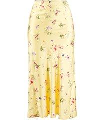 andamane bella floral-print satin skirt - yellow