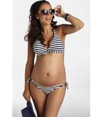women's pez d'or stripe two-piece maternity swimsuit, size large - blue