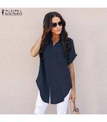 zanzea camisa de manga corta con botones para mujer camiseta con corbata y blusa de mezclilla -azul oscuro