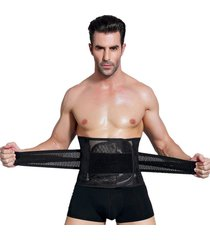 los hombres body shaper corset abdomen barriga cintura control trainer adelgaza cinturón ventral-negro