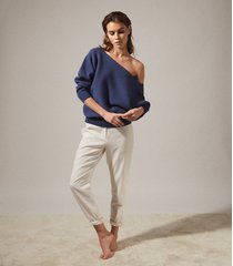 reiss amy - asymmetric knitted top in blue, womens, size xl
