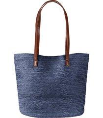 borsa shopper in simil paglia (blu) - bpc bonprix collection