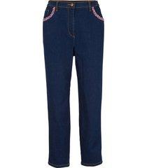 jeans cropped in cotone a vita alta con cinta comoda mom fit (blu) - bpc bonprix collection