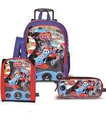 kit mochila santino com rodinhas speed car com lancheira e estojo