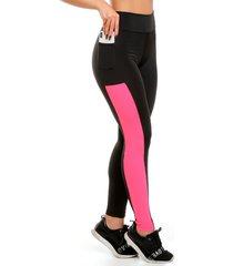 calça legging galvic preta com bolso detalhe neon rosa