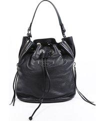 balenciaga veau papier plate small black leather bucket bag black sz: m