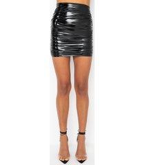 akira not afraid vinyl ruched mini skirt