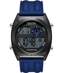 kenneth cole reaction men's dress sport round blue silicon strap watch 44mm