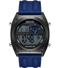 kenneth cole reaction men's dress sport round blue silicon strap watch 44mm