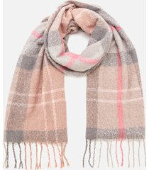 barbour causal women's tartan boucle scarf - taupe/pink