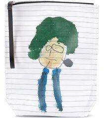 plan c schoolbook drawing print clutch bag - white