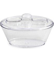 mini tigela pote oval c/ tampa plástico 6 unid.