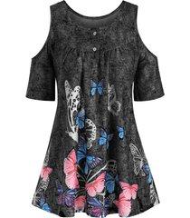 butterfly denim print cold shoulder longline t-shirt