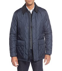 men's cole haan quilted jacket, size large - blue