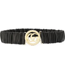 gucci ruched leather logo belt - black