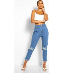 distressed boyfriend jeans met middelhoge taille, middenblauw