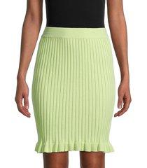 bcbgeneration women's rib-knit ruffle-hem skirt - lime - size m